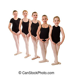 ballet, tercero, estudiantes, joven, pies, posición