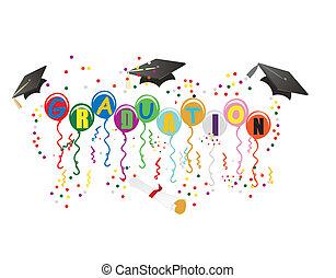 ballons, graduación, ilustración, celebración