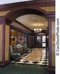 balneario, hotel, lujo, pasillo