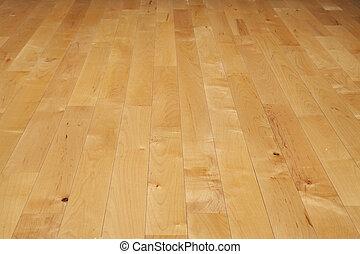 baloncesto, ángulo, piso, madera dura, bajo, tribunal, visto