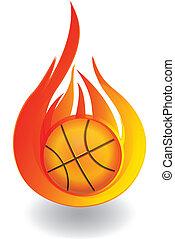Baloncesto en logo de fuego