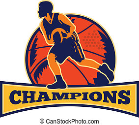 baloncesto, gotear, jugador, pelota, retro, campeones