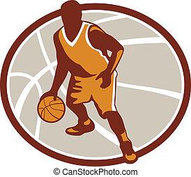 baloncesto, gotear, jugador, pelota, retro, oval