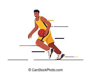 baloncesto, movimiento, vector, ilustración, jugador