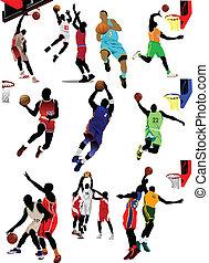 baloncesto, players., vector, coloreado