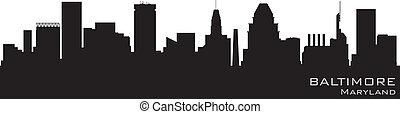 Baltimore, Maryland Skyline. Detallado vector silueta