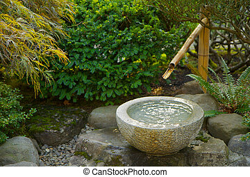 bambú, foutain, japonés de jardín
