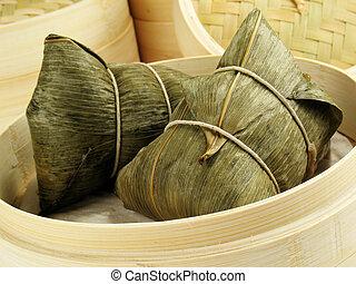 bambú, hoja, bola de masa hervida