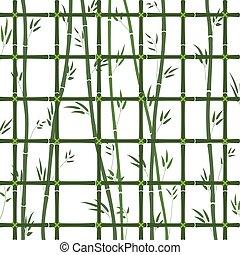 bambú, tallos, patrón, hojas verdes, enrejado