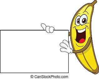Banana sosteniendo una señal