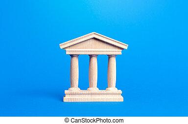 banca, administración, educación, o, pilares, edificio, viejo, tribunal, universidad, arquitectónico, style., library., antigüedad, ciudad, parte, government., banco, monumento, estatuilla, city., concepto