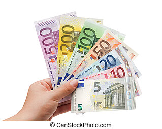 Bancos europeos en mano en blanco por ciento