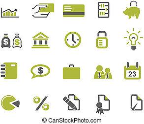 Bancos y iconos de negocios listos