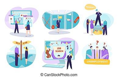 bancrupts, desempleo, aislado, conjunto, illustrations., trabajo, vector, concepto, gente, búsqueda, work., desempleado, empleado, buscando