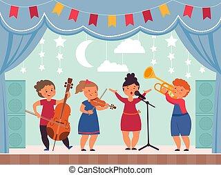 banda, musical, o, moderno, fiesta, exposición, niña, niños, joven, decente, stage., vector, música, teatro, canto, drama, ilustración, escolares, concert.
