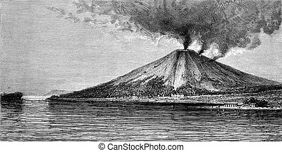banda, vendimia, engraving., volcán