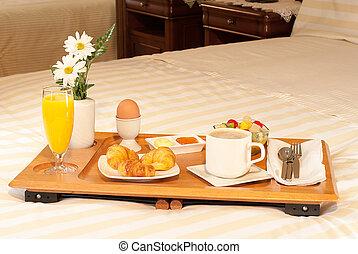 bandeja, cama, en, desayuno, la