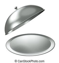 Bandeja de catering de plata