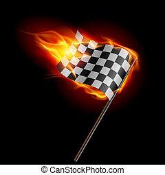 bandera, a cuadros, carreras, abrasador