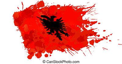 Bandera albanesa hecha de salpicaduras coloridas
