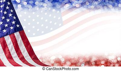 Bandera americana y fondo bokeh con espacio copiado para 4 días de independencia de julio y otras celebraciones