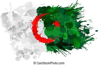 Bandera argelina hecha de salpicaduras coloridas