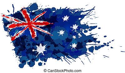 Bandera australiana hecha de salpicaduras coloridas