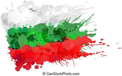 Bandera búlgara hecha de salpicaduras coloridas