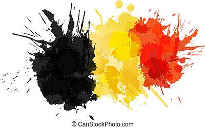 Bandera belga hecha de salpicaduras coloridas