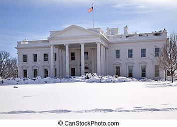 Bandera blanca de nieve Pennsylvania ave Washington DC