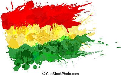Bandera boliviana hecha de salpicaduras coloridas