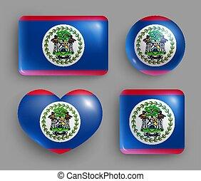 bandera, botones, belice, brillante, conjunto, país