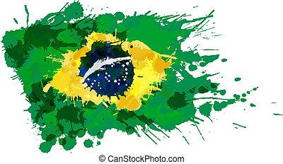 Bandera brasileña hecha de salpicaduras coloridas