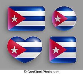 bandera, brillante, país, conjunto, botones, cuba