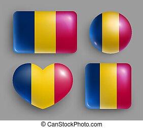 bandera, brillante, país, conjunto, chad, botones