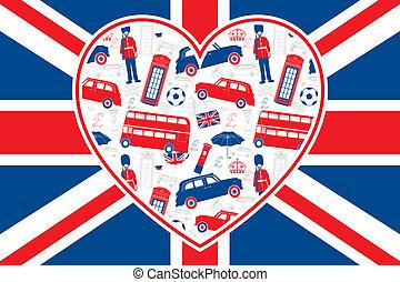 Bandera británica, corazón, iconos de Londres