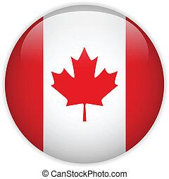 bandera canadá, brillante, botón