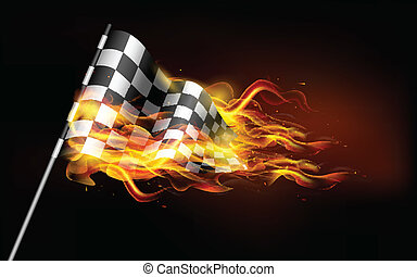 bandera, carrera, ardiente