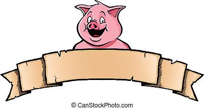 bandera, cinta, cerdo