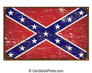 bandera, confederado, esmalte, señal