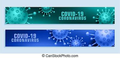 bandera, covid-19, de par en par, conjunto, brote, pandemia, coronavirus