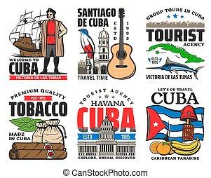bandera cubano, viaje, cuba, mapa, iconos, señales