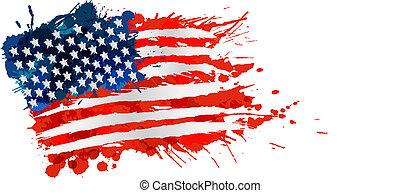 Bandera de EE.UU. hecha de salpicaduras coloridas