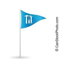 Bandera de golf con herramientas