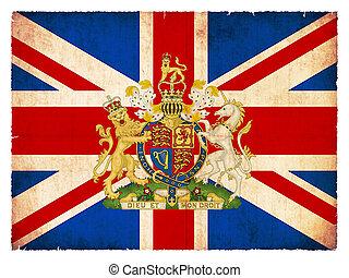 Bandera de gran Bretaña con emblema