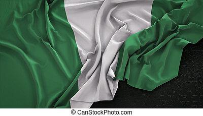 Bandera de Nigeria arrugada en oscura versión 3D