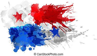 Bandera de Panamá hecha de salpicaduras coloridas