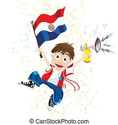 bandera de paraguay, deporte, ventilador, cuerno