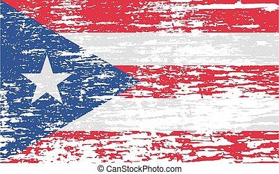 Bandera de Puerto Rico con textura vieja. Vector