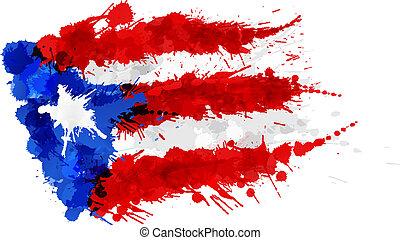 Bandera de Puerto Rico hecha de salpicaduras coloridas